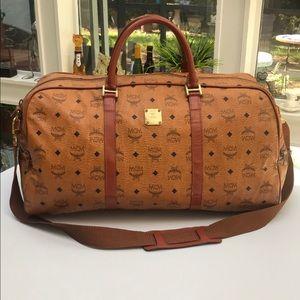 Authentic MCM Unisex Cognac Leather Duffel Bag